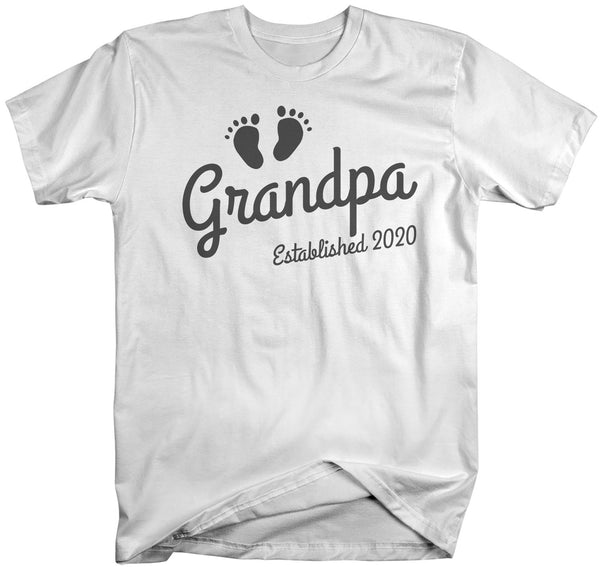 Men's Grandpa Established 2020 Baby Feet Shirt Promotion New Baby Reveal Cute Father's Day Gift Shirts-Shirts By Sarah
