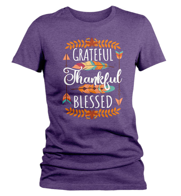 Women's Thankful T Shirt Thanksgiving Shirt Boho Shirt Feathers Grateful Thankful Blessed Fall Shirt Give Thanks Tee-Shirts By Sarah