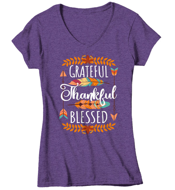 Women's V-Neck Thankful T Shirt Thanksgiving Shirt Boho Shirt Feathers Grateful Thankful Blessed Fall Shirt Give Thanks Tee-Shirts By Sarah