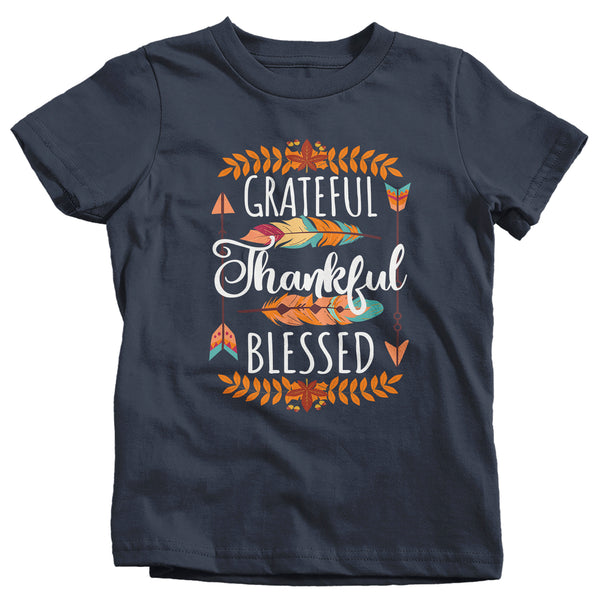 Kids Thankful T Shirt Thanksgiving Shirt Boho Shirt Feathers Grateful Thankful Blessed Fall Shirt Give Thanks Tee-Shirts By Sarah