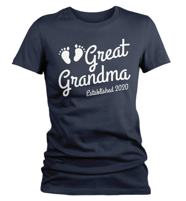 Women's Great Grandma Established 2020 Baby Feet Shirt Promotion New Baby Reveal Cute Shirts-Shirts By Sarah