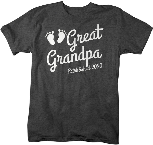Men's Great Grandpa Established 2020 Baby Feet Shirt Promotion New Baby Reveal Cute Father's Day Gift Shirts-Shirts By Sarah