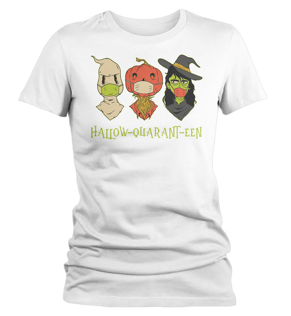 Women's Cute Halloween T Shirt Halloquaranteen Shirt Witch Shirt Mask Monsters Shirt Halloween Tshirt Quarantine Halloween Tee-Shirts By Sarah