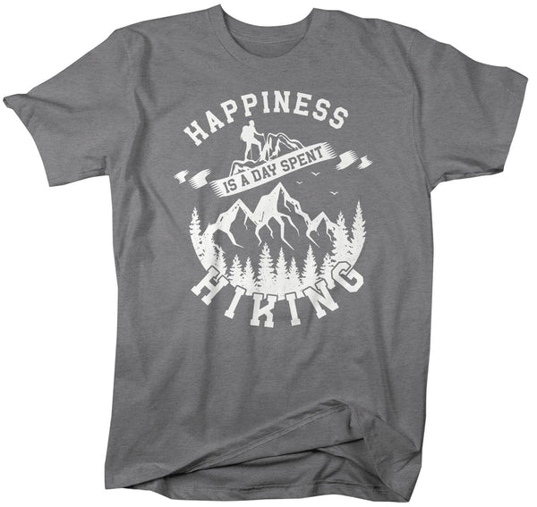 Men's Hiking T Shirt Happiness Day Spent Hiking Shirt Mountains Shirt Hiker Gift Mountains Tee Go Hike Shirt Man Unisex-Shirts By Sarah