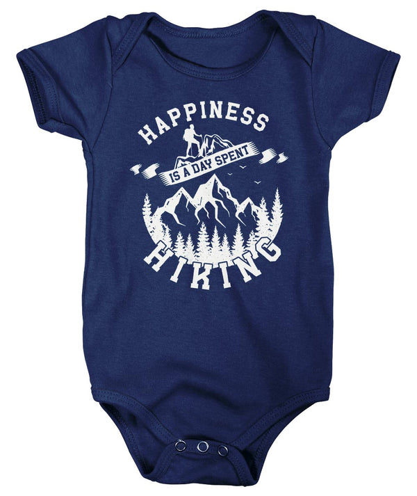 Baby Hiking T Shirt Happiness Day Spent Hiking Shirt Mountains Shirt Hiker Gift Mountains Tee Go Hike Shirt Boys Girls-Shirts By Sarah