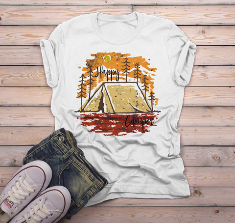 9edc191c3a Men's Happy Camper T Shirt Fall Camping Camp Tent Illustration Forest  Graphic Tee-Shirts By