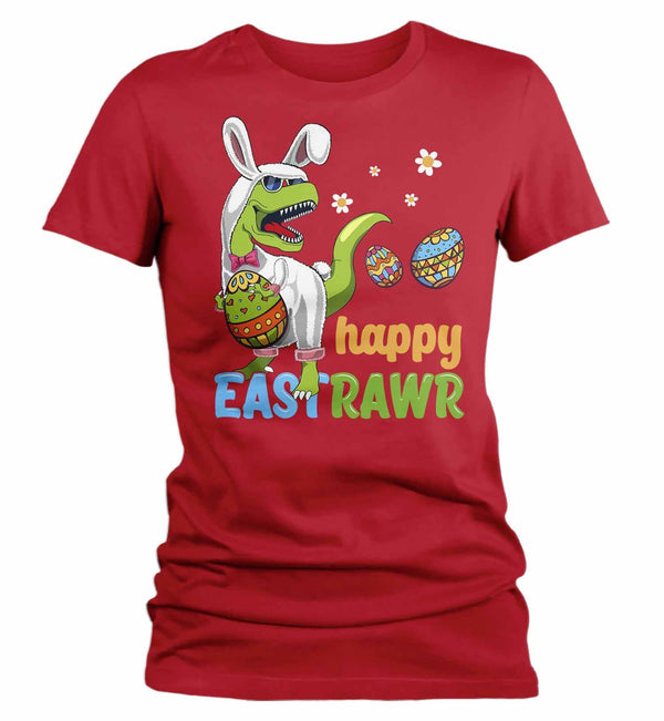 Women's Funny Easter T Shirt T Rex Easter Bunny Shirt Happy Eastrawr Shirt Funny Dinosaur Easter Shirt Rawr Shirt-Shirts By Sarah