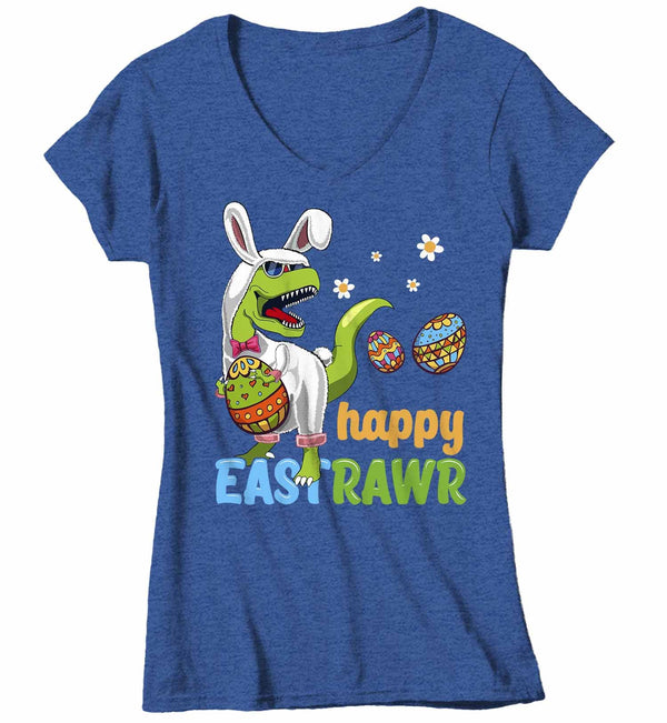 Women's V-Neck Funny Easter T Shirt T Rex Easter Bunny Shirt Happy Eastrawr Shirt Funny Dinosaur Easter Shirt Rawr Shirt-Shirts By Sarah