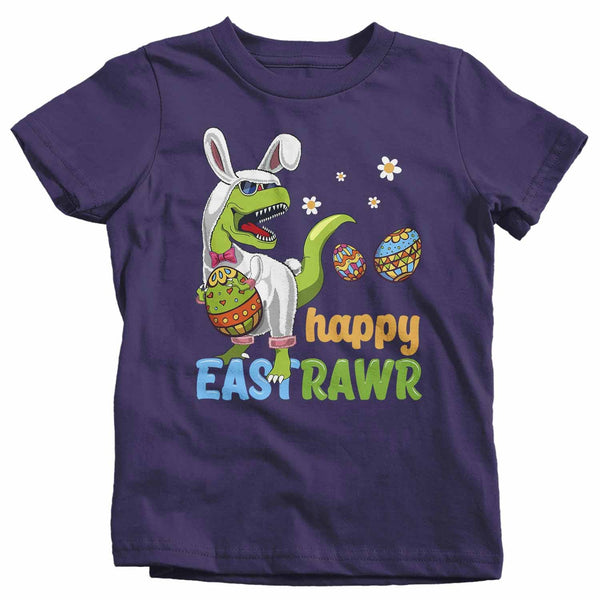 Kids Funny Easter T Shirt T Rex Easter Bunny Shirt Happy Eastrawr Shirt Funny Dinosaur Easter Shirt Rawr Shirt-Shirts By Sarah