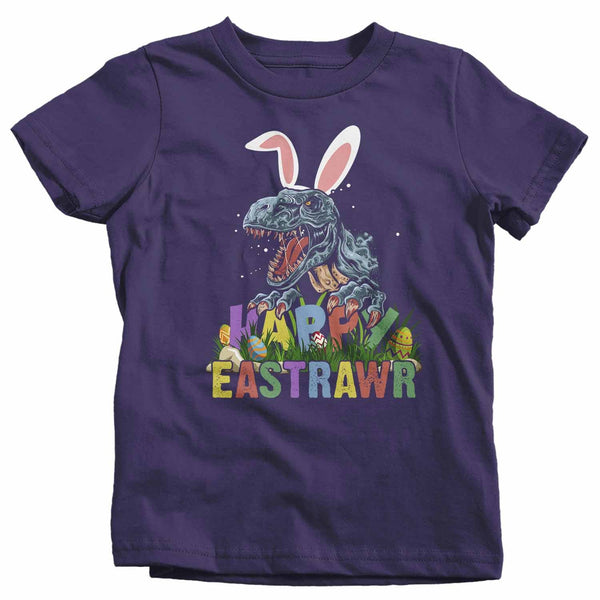 Kids Funny Easter T Shirt T Rex Easter Shirt Happy Eastrawr Shirt Funny Dinosaur Easter Shirt Rawr Shirt-Shirts By Sarah