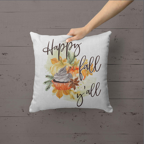Happy Fall Yall Pillow Cover Fall Throw Pillow Case Watercolor Pumpkin Home Decor Latte Square Pumpkin Spice 15