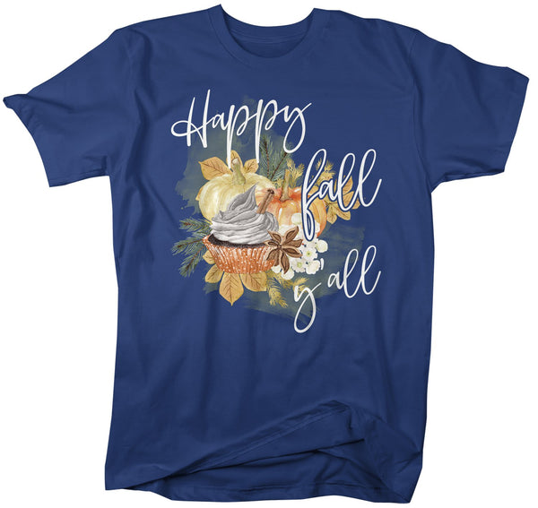 Men's Happy Fall Yall T Shirt Fall Shirts Watercolor Pumpkin T Shirts Latte Shirt Pumpkin Spice Shirts Fall T Shirts-Shirts By Sarah