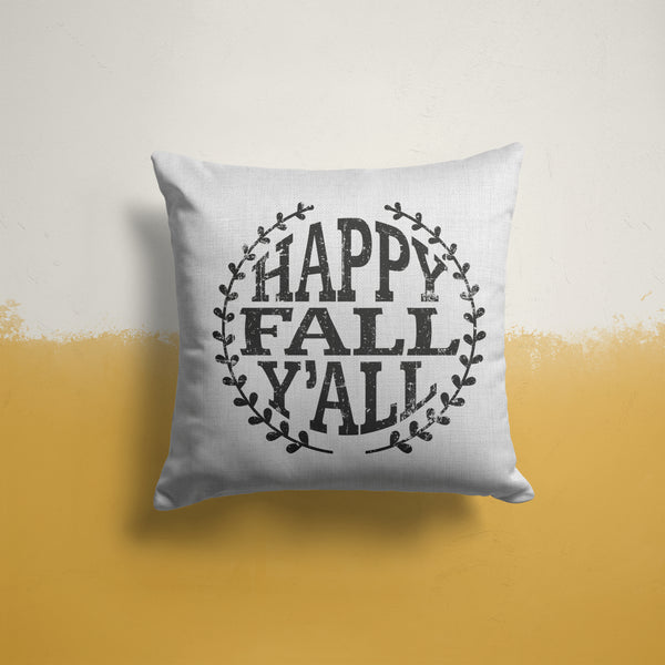 "Happy Fall Y'all Pillow Cover Home Decor Pillow Case Throw Pillow Sham Fall Decor Fall Pillow Linen Canvas 15.75""-Shirts By Sarah"
