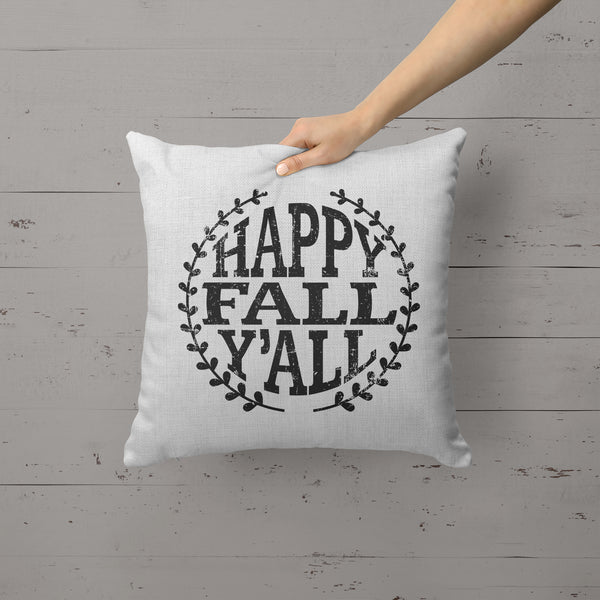 Happy Fall Y'all Pillow Cover Home Decor Pillow Case Throw Pillow Sham Fall Decor Fall Pillow Linen Canvas 15.75