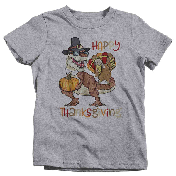 Kids Funny Thanksgiving T Shirt Turkey T-Rex Dinosaur Shirts Turkey Shirt Thanksgiving Shirt Funny TRex Shirts Tyrannosaurus Shirt-Shirts By Sarah
