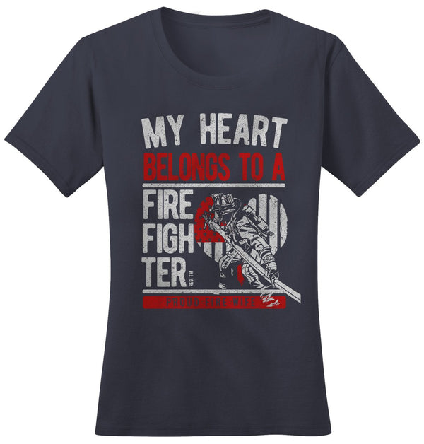Shirts By Sarah Women's Fire Wife T-Shirt Heart Belongs To Firefighter-Shirts By Sarah