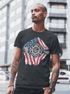 Men's Firefighter T Shirt Superhero Shirt Fireman Shirts Fire Dept. T-Shirt American Flag Shirt Patriotic Shirts