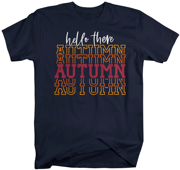 Men's Hello Autumn T Shirt Thanksgiving Shirt Stacked Font Shirt Fall Athletic Sporty Tee Shirt-Shirts By Sarah
