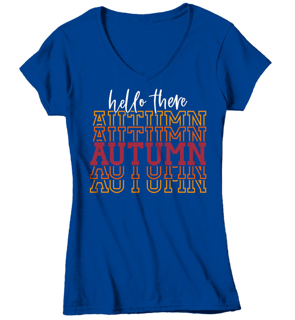 Women's V-Neck Hello Autumn T Shirt Thanksgiving Shirt Stacked Font Shirt Fall Athletic Sporty Tee Shirt-Shirts By Sarah