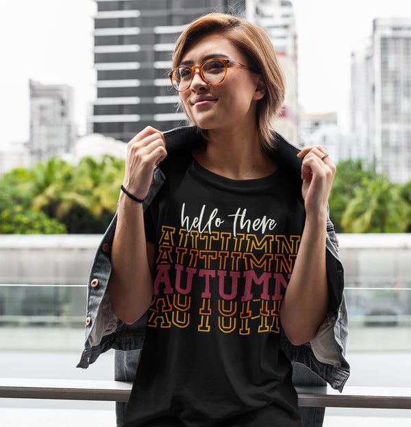 Women's Hello Autumn T Shirt Thanksgiving Shirt Stacked Font Shirt Fall Athletic Sporty Tee Shirt-Shirts By Sarah