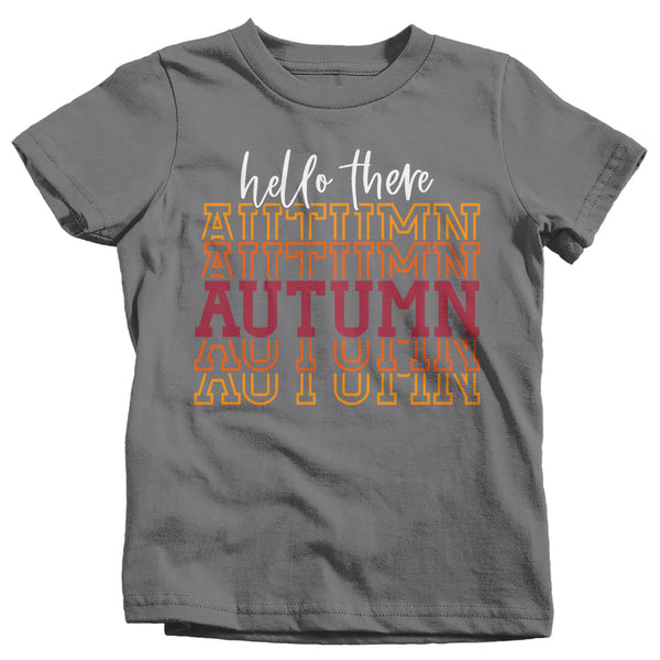 Kids Hello Autumn T Shirt Thanksgiving Shirt Stacked Font Shirt Fall Athletic Sporty Tee Shirt-Shirts By Sarah