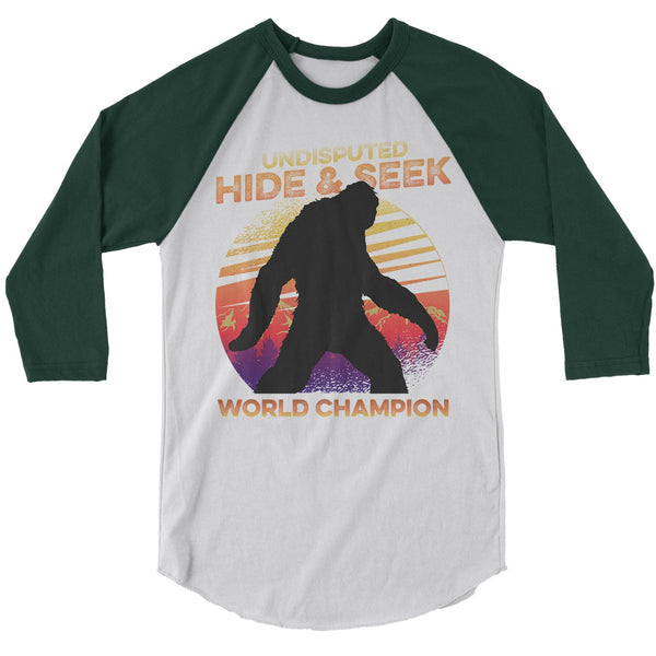 Men's Funny Bigfoot T-Shirt Hide And Seek World Champion Sasquatch Tee Grunge Hipster Shirt Raglan 3/4 Sleeve-Shirts By Sarah