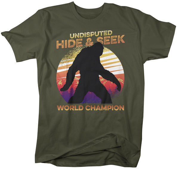 Men's Funny Bigfoot T-Shirt Hide And Seek World Champion Sasquatch Tee Grunge Hipster Shirt-Shirts By Sarah