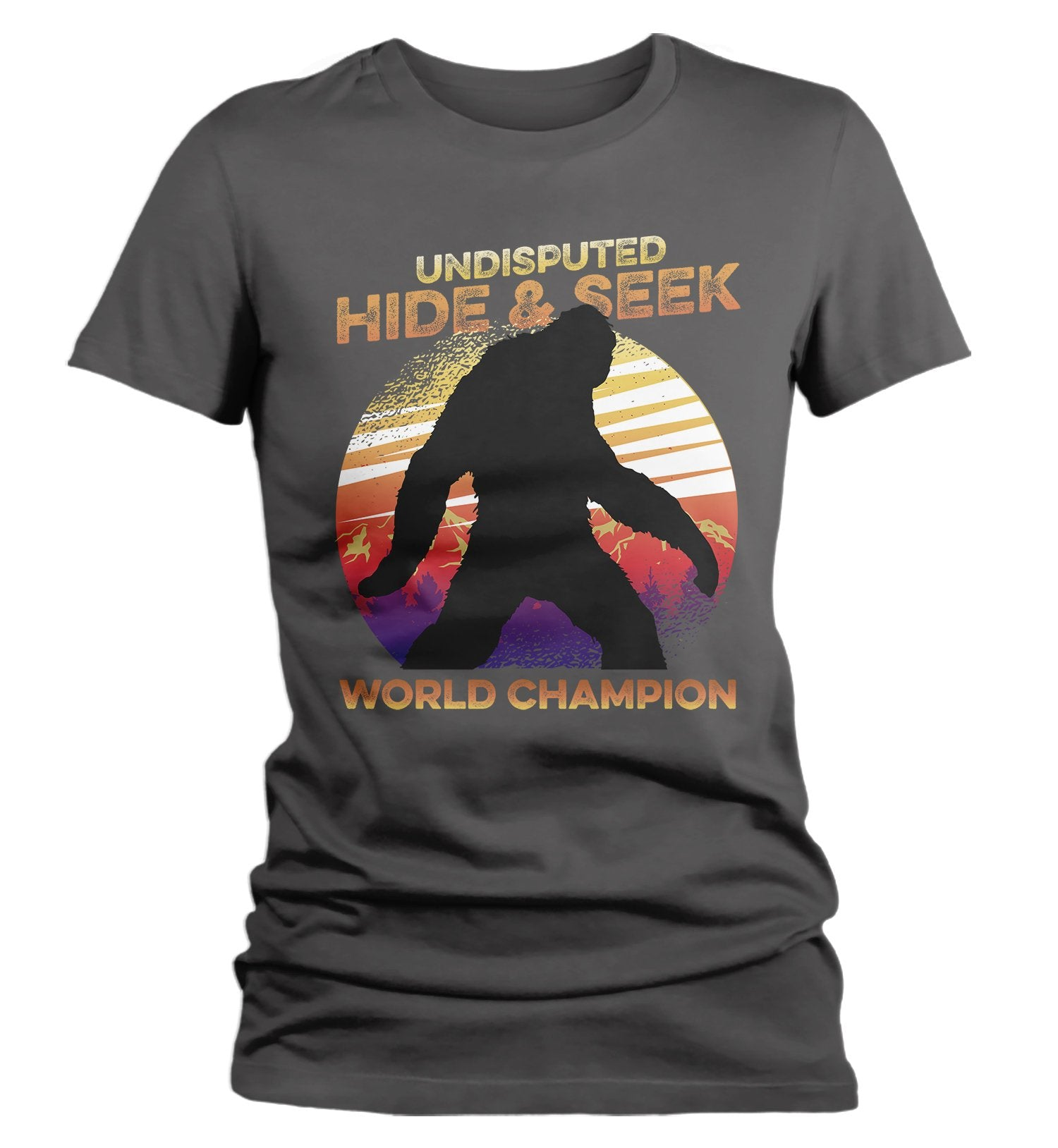 Bigfoot Sasquatch Hide And Seek Champion Funny Youth Graphic T-Shirts