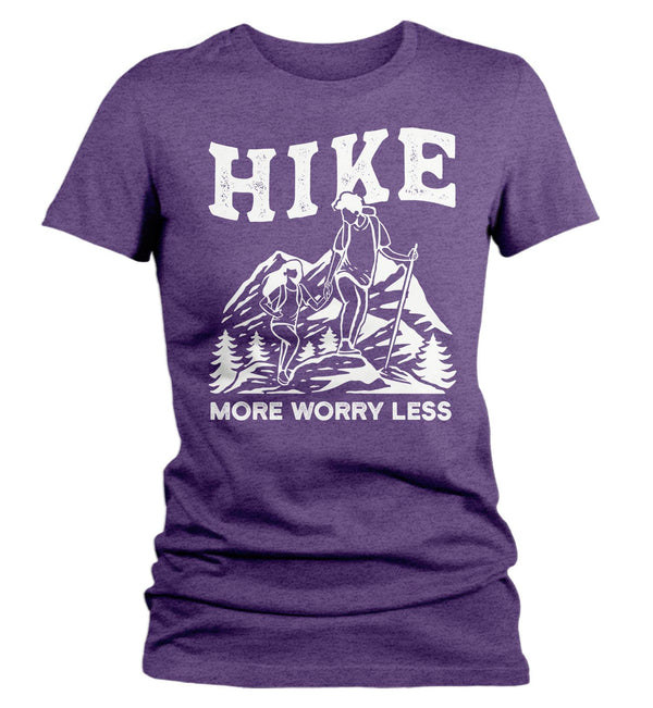 Women's Hike More T Shirt Vintage Hiker Shirt Worry Less Shirt Hiker Gift Mountains Tee Go Hiking Shirt Ladies Woman-Shirts By Sarah