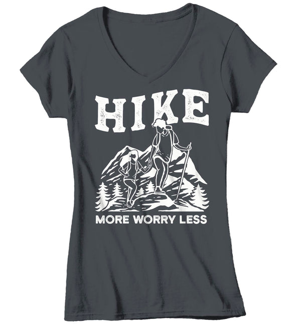 Women's V-Neck Hike More T Shirt Vintage Hiker Shirt Worry Less Shirt Hiker Gift Mountains Tee Go Hiking Shirt Ladies Woman-Shirts By Sarah