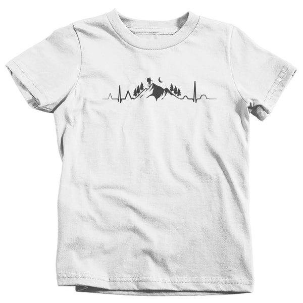 Kids Hiking T Shirt Heartbeat Shirt Hiking EKG Shirt Hiker Gift Love Hiking Tee Mountains Shirt Boys Girls Unisex-Shirts By Sarah