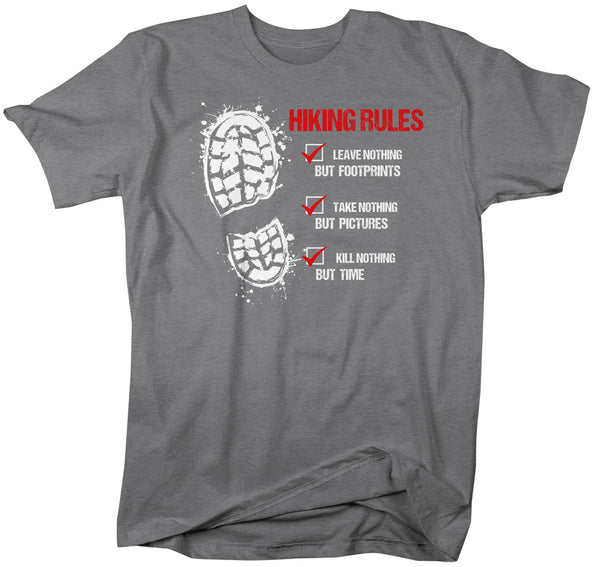Men's Hiking Rules T Shirt Hiker Shirt Hiking Boot Shirt Hiker Gift Leave Nothing Tee Go Hike Shirt Mans Unisex-Shirts By Sarah