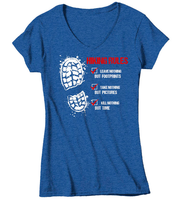Women's V-Neck Hiking Rules T Shirt Hiker Shirt Hiking Boot Shirt Hiker Gift Leave Nothing Tee Go Hike Shirt Ladies Woman-Shirts By Sarah