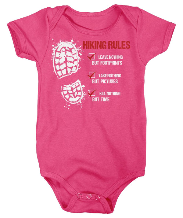 Baby Hiking Rules Bodysuit Hiker Snap Suit Hiking Boot Hiker Gift Leave Nothing Creeper Go Hike Shirt Boys Girls-Shirts By Sarah
