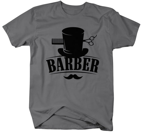 Vintage Top Hat Barber T-Shirt - Small / Charcoal - 2