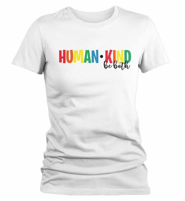 Women's Be Kind T Shirt Kindness Shirts Human Kind Shirt Be Both Shirts Inspirational Shirts Vintage Shirt-Shirts By Sarah