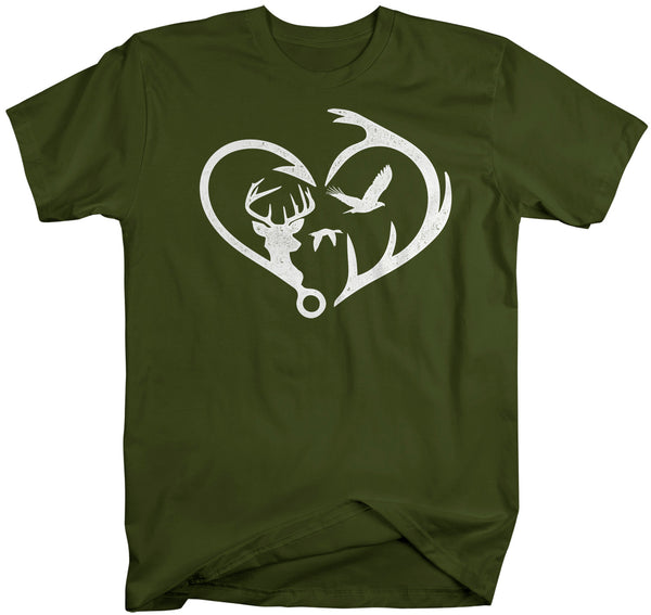 Men's Hunting T Shirt Fisherman Shirt Hunter Shirt Hunter Gift Fishing Gift T Shirt Heart Hook Antlers Shirt Hunting Gift Unisex Man-Shirts By Sarah
