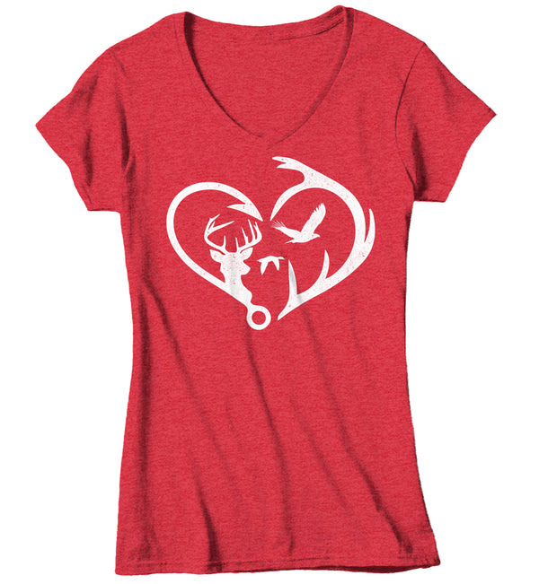 Women's V-Neck Hunting T Shirt Fisherman Shirt Hunter Shirt Hunter Gift Fishing Gift T Shirt Heart Hook Antlers Shirt Hunting Gift Ladies Woman-Shirts By Sarah