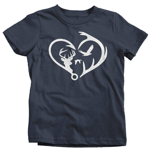 Kids Hunting T Shirt Fisherman Shirt Hunter Shirt Hunter Gift Fishing Gift T Shirt Heart Hook Antlers Shirt Hunting Gift Boys Girls-Shirts By Sarah