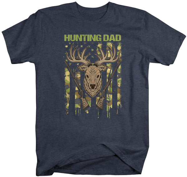 Men's Hunting Dad T Shirt Father's Day Gift Deer Hunter Dad Shirt Camo Flag Shirt Buck Deer Father Hunter Shirt Camouflage-Shirts By Sarah