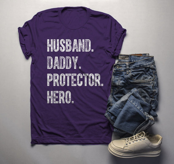 Men's Dad T Shirt Husband Shirts Hero Protector Daddy TShirt Father's Day Gift Idea Tee-Shirts By Sarah