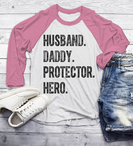 0b69d92e Men's Dad T Shirt Husband Shirts Hero Protector Daddy TShirt Father's Day  Gift Idea Tee 3