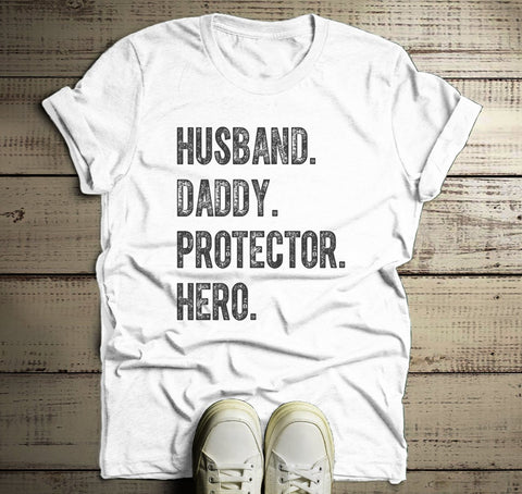 6137776e Men's Dad T Shirt Husband Shirts Hero Protector Daddy TShirt Father's Day  Gift Idea Tee-