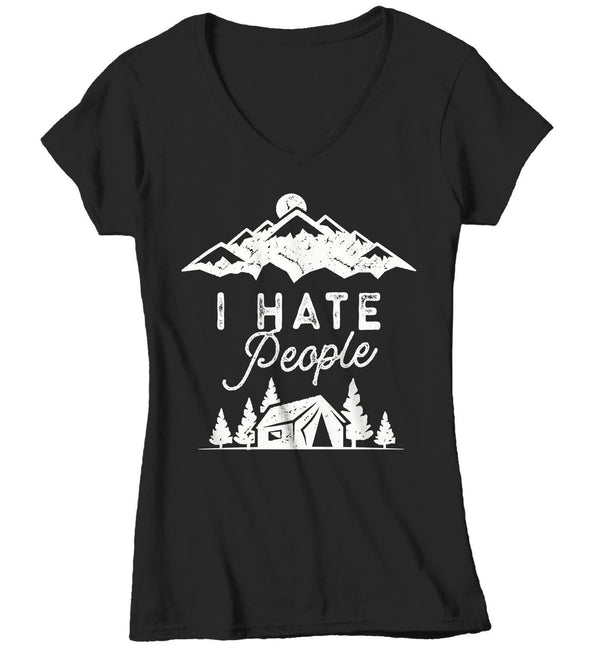 Women's Funny Camping T Shirt I Hate People Shirts Antisocial Shirt Camping Shirts Funny Hipster Shirt Camping Shirt-Shirts By Sarah