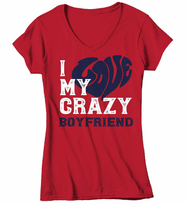 Women's V-Neck Valentines Day T Shirt Valentine's Day Boyfriend Shirts Love My Crazy Boyfriend Matching Valentines TShirt Couples Shirts-Shirts By Sarah