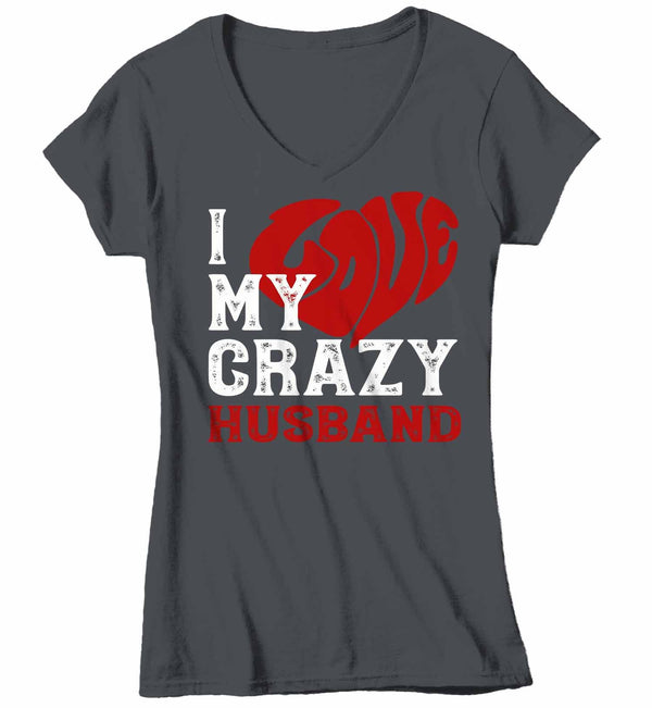 Women's V-Neck Valentines Day T Shirt Valentine's Day Husband Shirts Love My Crazy Husband Matching Valentines TShirt Couples Shirts-Shirts By Sarah