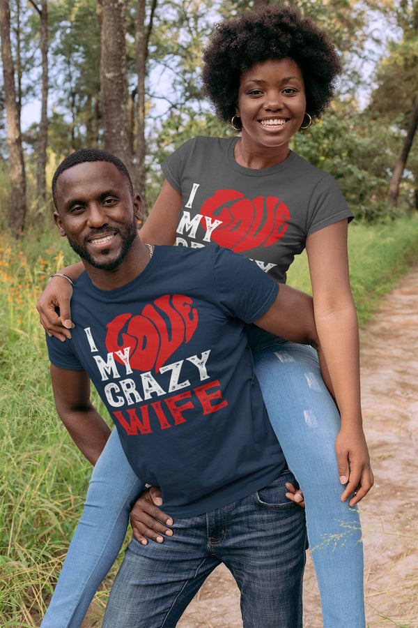 Men's Valentines Day T Shirt Valentine's Day Wife Shirts Love My Crazy Wife Matching Valentines TShirt Couples Shirts-Shirts By Sarah