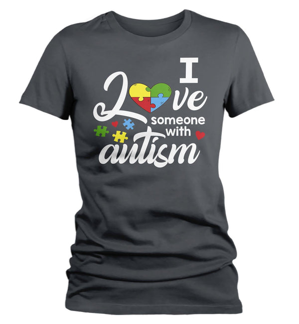 Women's Autism T Shirt Love Someone With Autism Shirt Heart Puzzle Love Autism T Shirt Autism Awareness Shirt-Shirts By Sarah