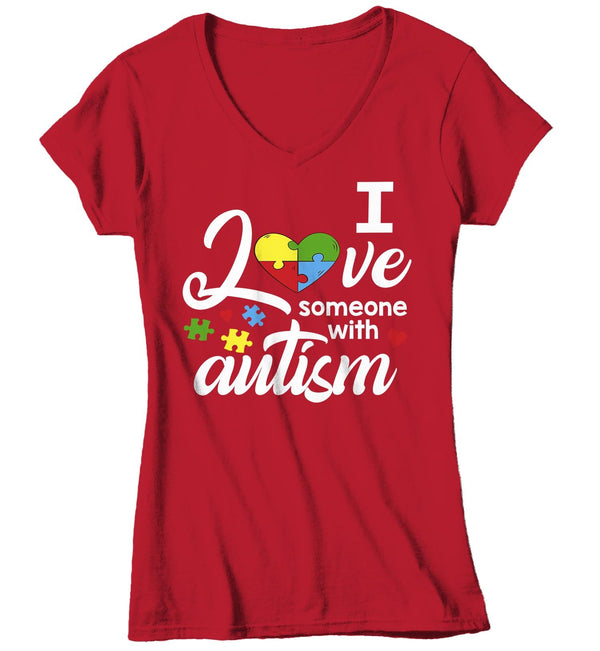 Women's V-Neck Autism T Shirt Love Someone With Autism Shirt Heart Puzzle Love Autism T Shirt Autism Awareness Shirt-Shirts By Sarah