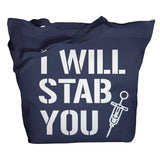 I Will Stab You Tote Bag - Navy - 7
